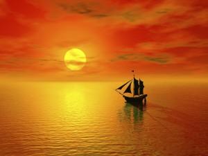sunset & boat